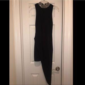 Rhinestone collar asymmetric dress